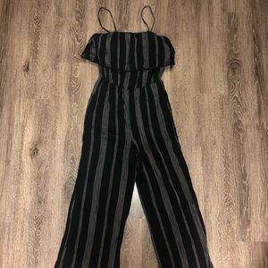 Black with white stripes jump suit